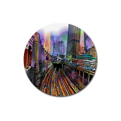 Downtown Chicago City Magnet 3  (Round)