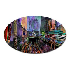 Downtown Chicago City Oval Magnet