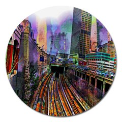 Downtown Chicago City Magnet 5  (round)