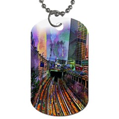 Downtown Chicago City Dog Tag (One Side)