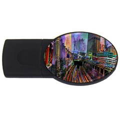 Downtown Chicago City Usb Flash Drive Oval (2 Gb)