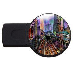 Downtown Chicago City Usb Flash Drive Round (4 Gb)