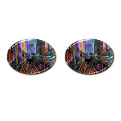 Downtown Chicago City Cufflinks (Oval)