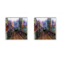 Downtown Chicago City Cufflinks (square)