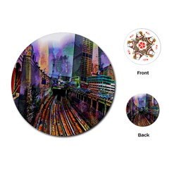 Downtown Chicago City Playing Cards (round)