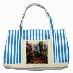 Downtown Chicago City Striped Blue Tote Bag