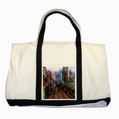 Downtown Chicago City Two Tone Tote Bag