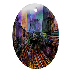 Downtown Chicago City Oval Ornament (Two Sides)