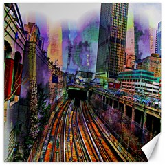 Downtown Chicago City Canvas 12  X 12