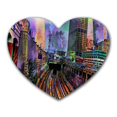 Downtown Chicago City Heart Mousepads