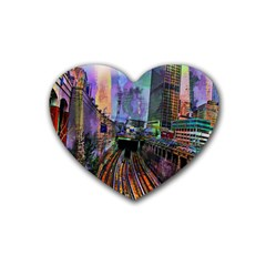 Downtown Chicago City Rubber Coaster (heart)