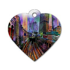 Downtown Chicago City Dog Tag Heart (Two Sides)