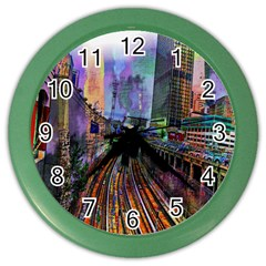 Downtown Chicago City Color Wall Clocks