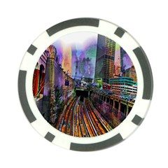 Downtown Chicago City Poker Chip Card Guard