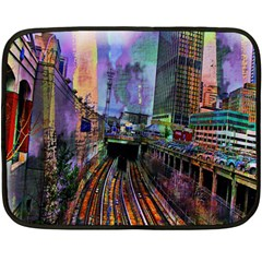 Downtown Chicago City Double Sided Fleece Blanket (mini)