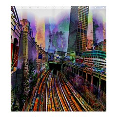 Downtown Chicago City Shower Curtain 66  x 72  (Large)