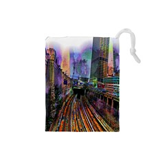 Downtown Chicago City Drawstring Pouches (Small)