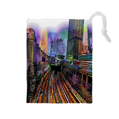 Downtown Chicago City Drawstring Pouches (Large)
