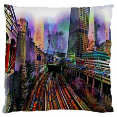 Downtown Chicago City Large Flano Cushion Case (Two Sides)