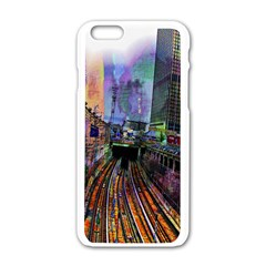 Downtown Chicago City Apple iPhone 6/6S White Enamel Case