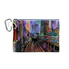 Downtown Chicago City Canvas Cosmetic Bag (M)