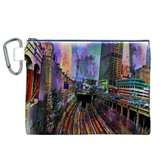 Downtown Chicago City Canvas Cosmetic Bag (XL)