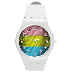 Brickwall Round Plastic Sport Watch (m)