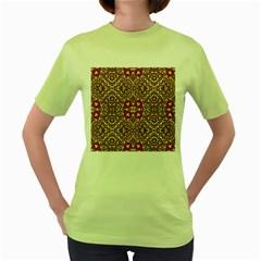 Seamless Pattern Based On Turkish Carpet Pattern Women s Green T-Shirt