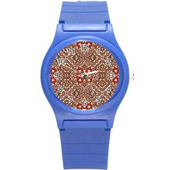 Seamless Pattern Based On Turkish Carpet Pattern Round Plastic Sport Watch (s)