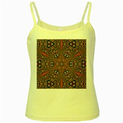 Armenian Carpet In Kaleidoscope Yellow Spaghetti Tank