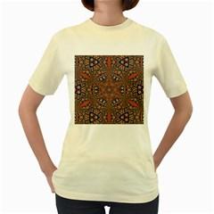 Armenian Carpet In Kaleidoscope Women s Yellow T Shirt