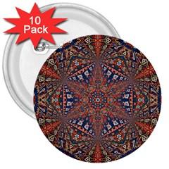 Armenian Carpet In Kaleidoscope 3  Buttons (10 Pack)