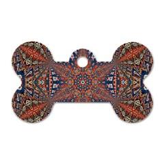 Armenian Carpet In Kaleidoscope Dog Tag Bone (Two Sides)