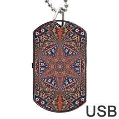Armenian Carpet In Kaleidoscope Dog Tag Usb Flash (two Sides)