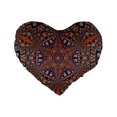 Armenian Carpet In Kaleidoscope Standard 16  Premium Heart Shape Cushions