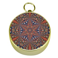 Armenian Carpet In Kaleidoscope Gold Compasses