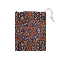 Armenian Carpet In Kaleidoscope Drawstring Pouches (Medium)
