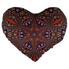 Armenian Carpet In Kaleidoscope Large 19  Premium Flano Heart Shape Cushions