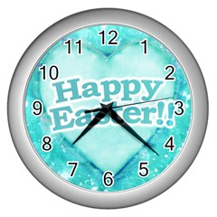 Happy Easter Theme Graphic Wall Clocks (Silver)