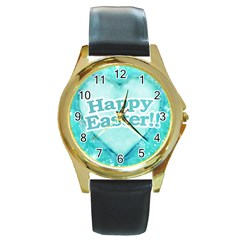 Happy Easter Theme Graphic Round Gold Metal Watch