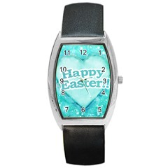 Happy Easter Theme Graphic Barrel Style Metal Watch
