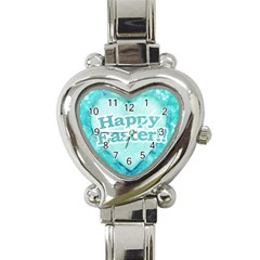 Happy Easter Theme Graphic Heart Italian Charm Watch