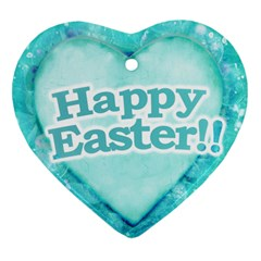 Happy Easter Theme Graphic Heart Ornament (Two Sides)