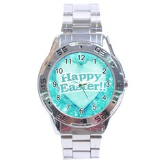 Happy Easter Theme Graphic Stainless Steel Analogue Watch