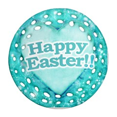 Happy Easter Theme Graphic Round Filigree Ornament (Two Sides)