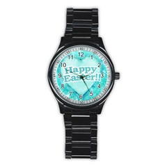 Happy Easter Theme Graphic Stainless Steel Round Watch