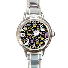 Cute Easter pattern Round Italian Charm Watch