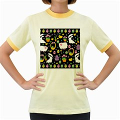 Cute Easter pattern Women s Fitted Ringer T-Shirts