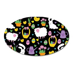 Cute Easter pattern Oval Magnet