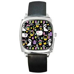 Cute Easter pattern Square Metal Watch